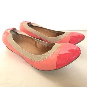 J Crew Mila Pink cap toe ballet flats 8.5 Neon